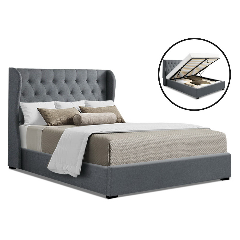 Artiss Queen Size Gas Lift Bed Frame Base With Storage Mattress Grey Fabric Wooden 1