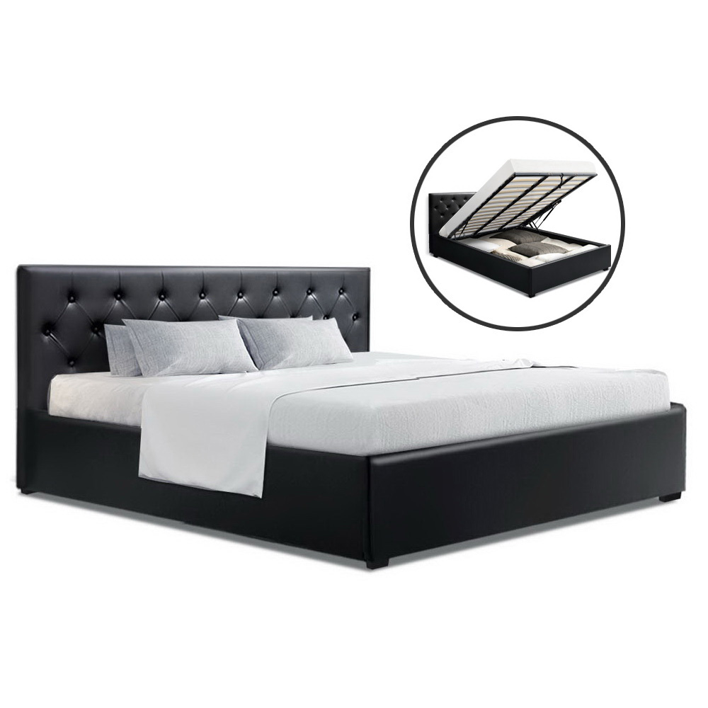 Artiss King Size Gas Lift Bed Frame Base Mattress Platform Leather Wooden Black WARE
