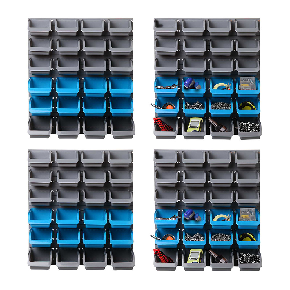 Giantz 96 Storage Bin Rack Wall-Mounted Tool Parts Garage Shelving Organiser 1