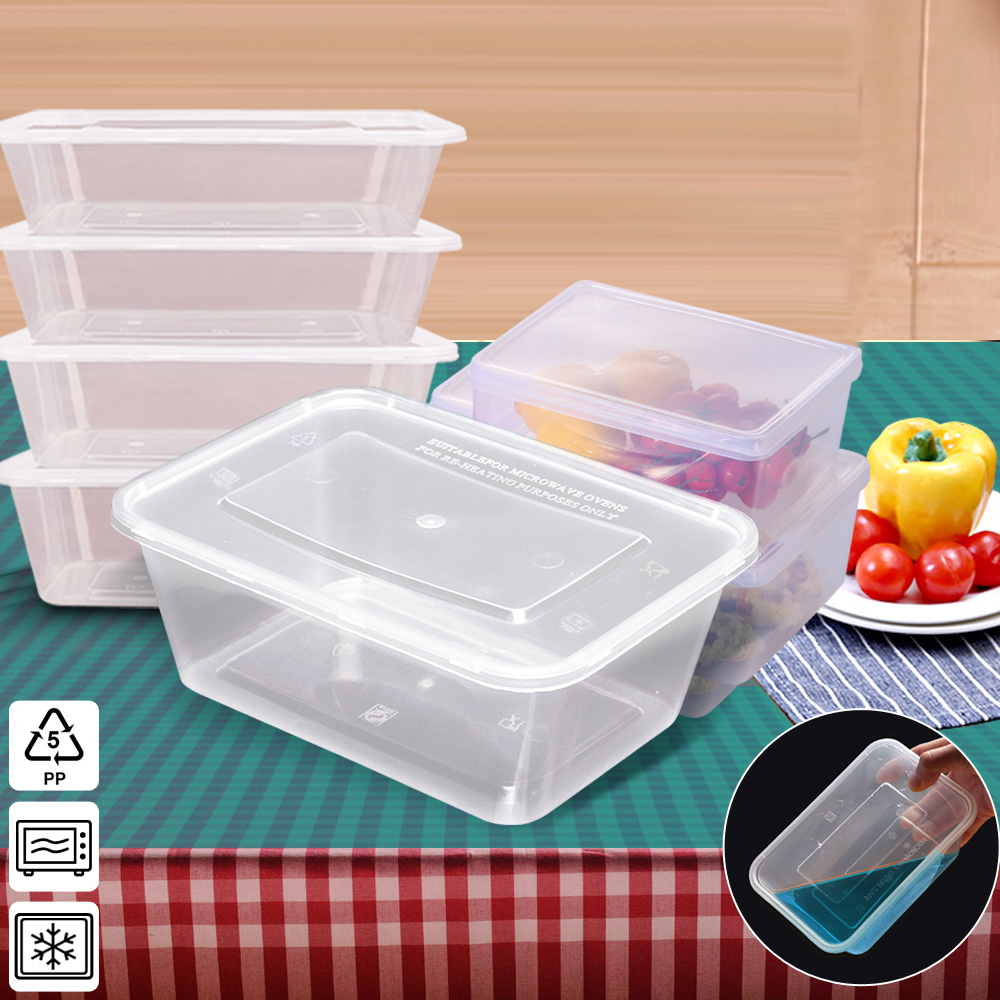 50 Packs Food Containers Plastic Base + Lids Bulk 1000ml 1
