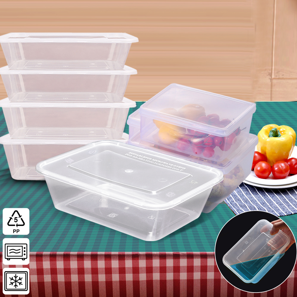 50 Packs Food Containers Plastic Base + Lids Bulk 650ml 1