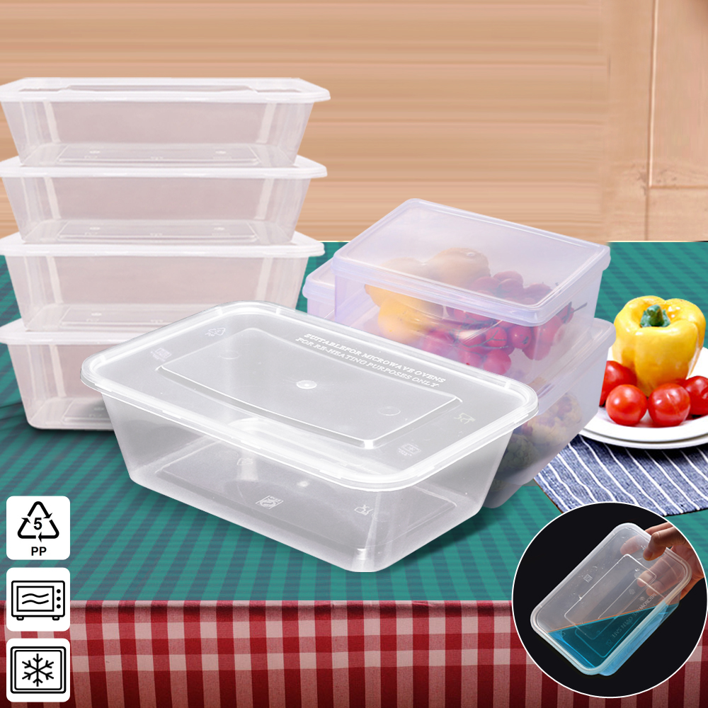 50 Packs Food Containers Plastic Base + Lids Bulk 750ml 1