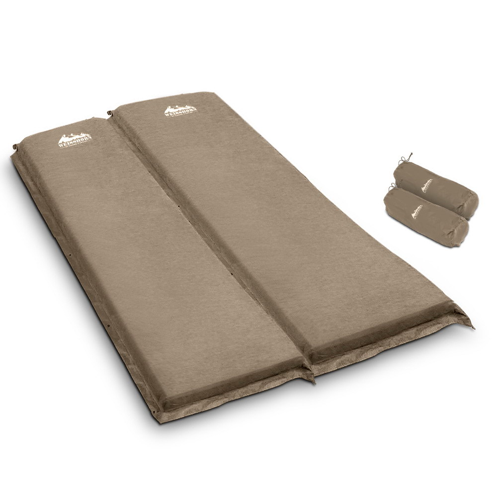 Weisshorn Self Inflating Mattress Camping Sleeping Mat Air Bed Pad Double Coffee 10CM Thick 1