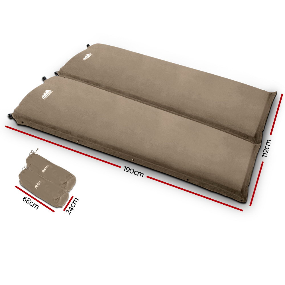 Weisshorn Self Inflating Mattress Camping Sleeping Mat Air Bed Pad Double Coffee 10CM Thick 2