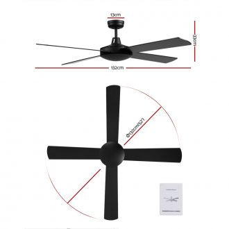 Devanti 52 inch 1300mm Ceiling Fan 4 Wooden Blades with Remote Control Reversible Fans 2