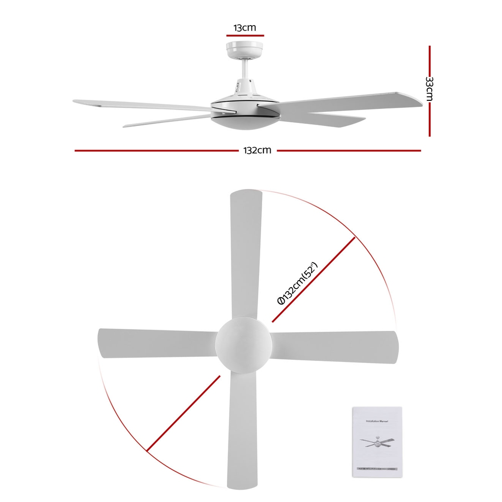 Devanti 52 inch 1300mm Ceiling Fan 4 Wooden Blades with Remote Reversible Fans White 2