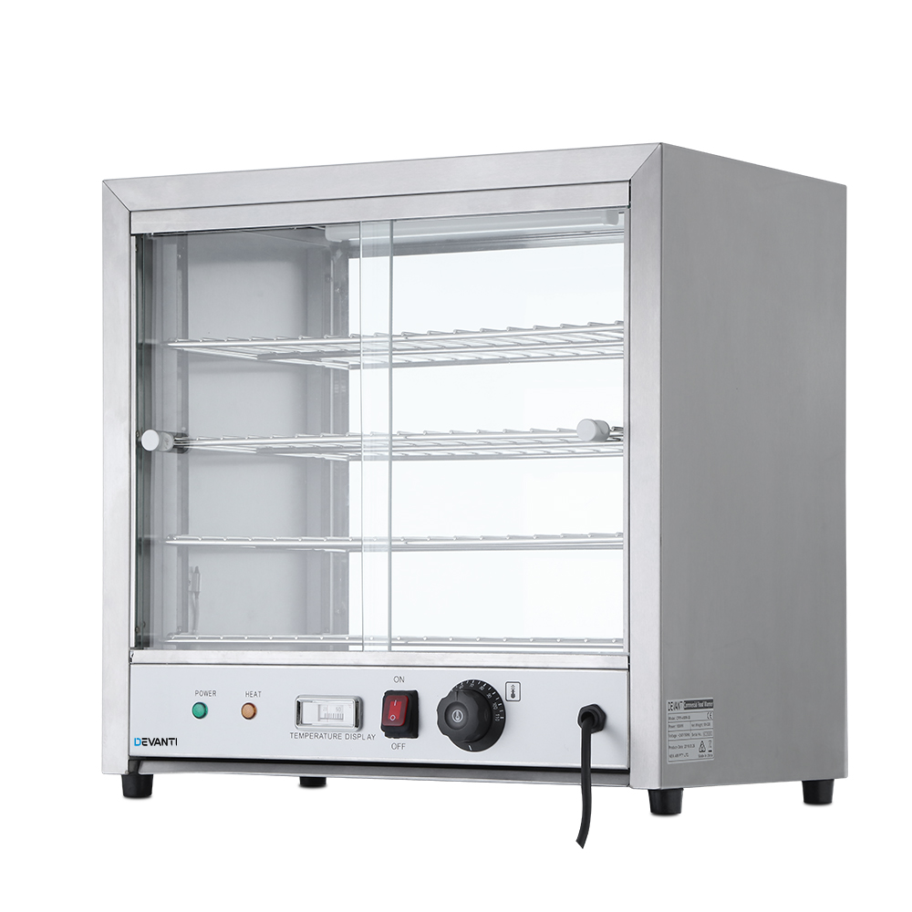 Devanti Commercial Food Warmer Pie Hot Display Showcase Cabinet Stainless Steel 1