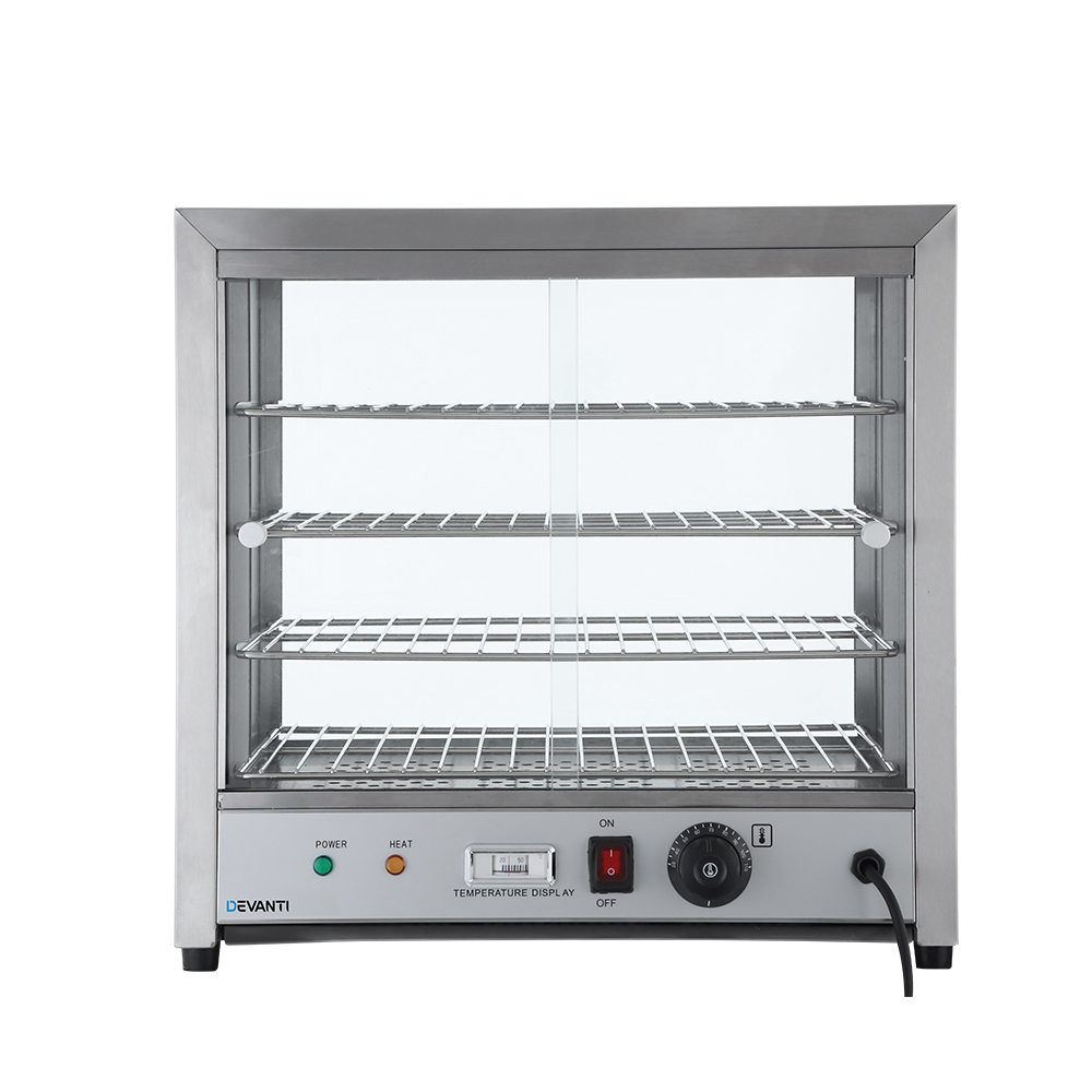 Devanti Commercial Food Warmer Pie Hot Display Showcase Cabinet Stainless Steel 3