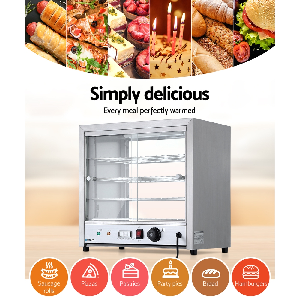Devanti Commercial Food Warmer Pie Hot Display Showcase Cabinet Stainless Steel 4