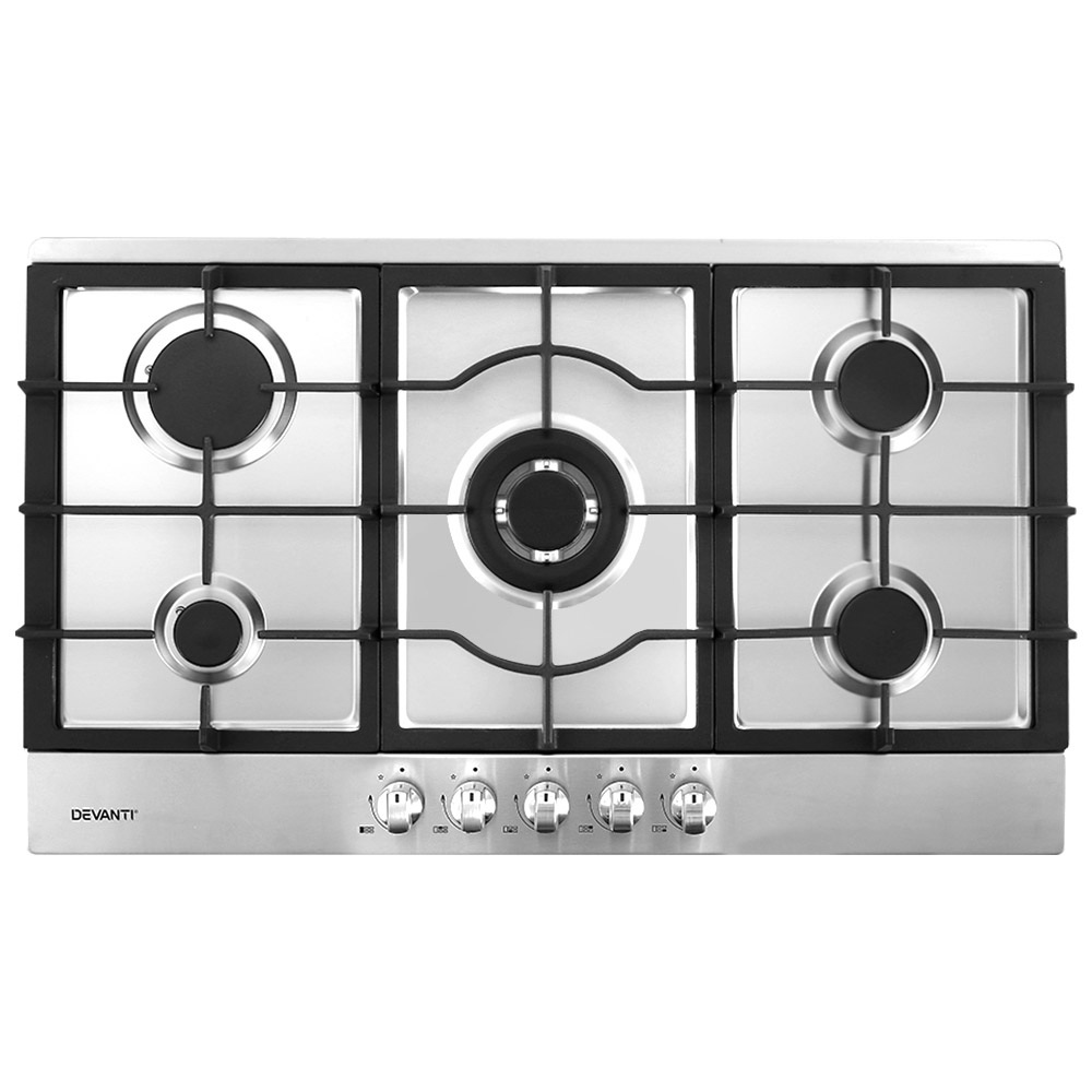 Devanti Gas Cooktop 90cm 5 Burner Kitchen Stove Cooker NG/LPG Stainless Steel 1