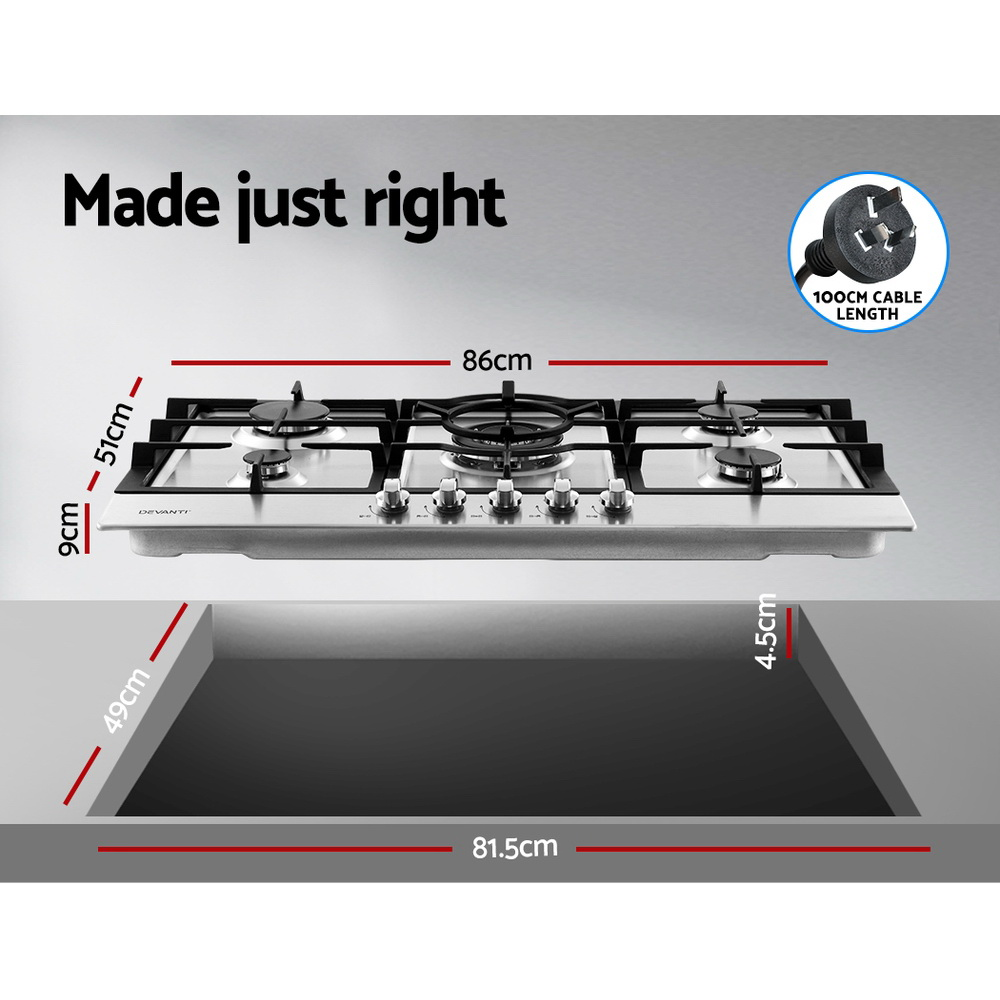 Devanti Gas Cooktop 90cm 5 Burner Kitchen Stove Cooker NG/LPG Stainless Steel 2