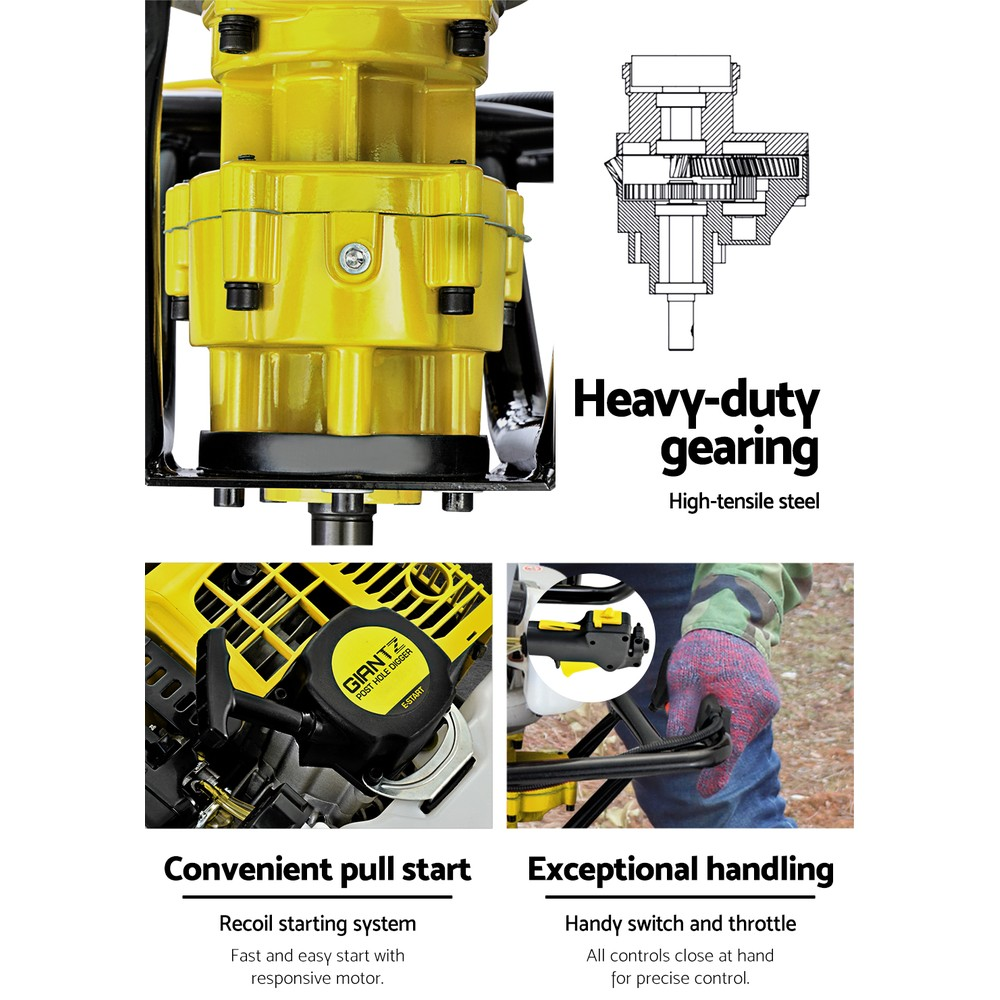 Giantz 88CC Petrol Post Hole Digger Auger Drill Borer Fence Earth Power 200mm 4