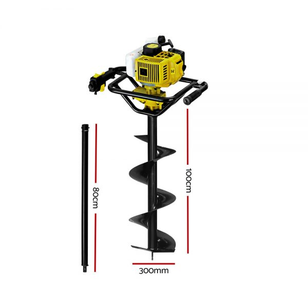 Giantz 88CC Post Hole Digger Petrol Auger Drill Borer Fence Earth Power 300mm 2
