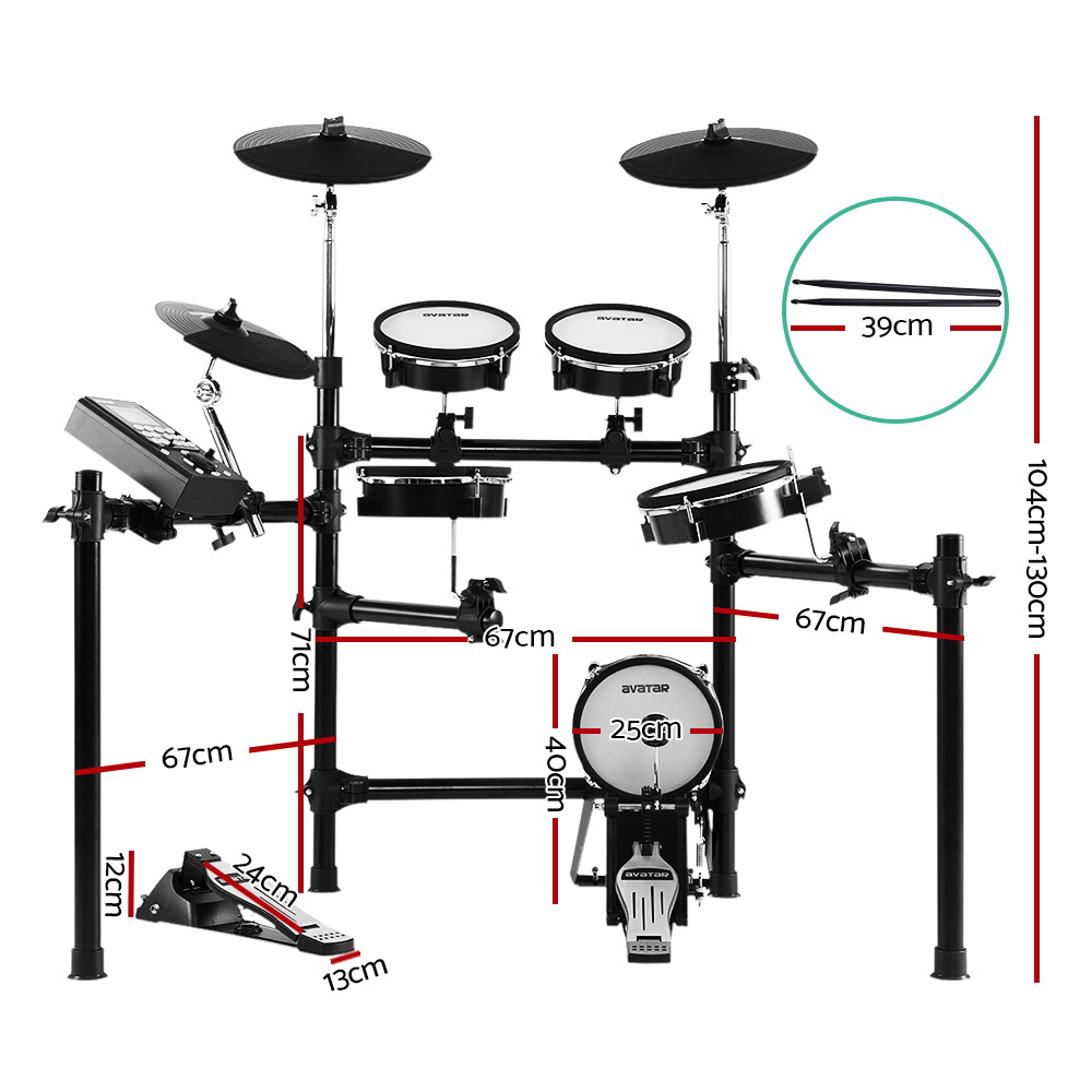 8 Piece Electric Electronic Drum Kit Mesh Drums Set Pad Tom Midi For Kids Adults 2