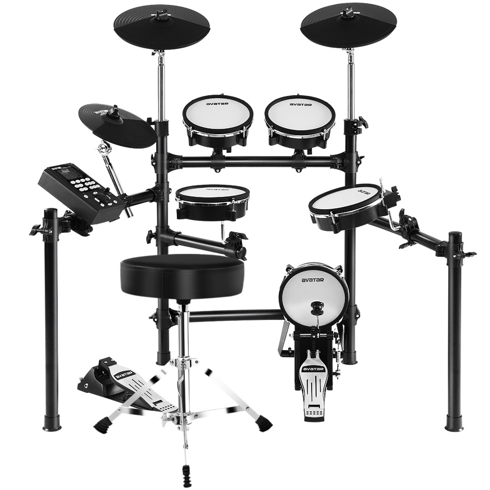 8 Piece Electric Electronic Drum Kit Mesh Drums Set Pad and Stool For Kids Adults 1