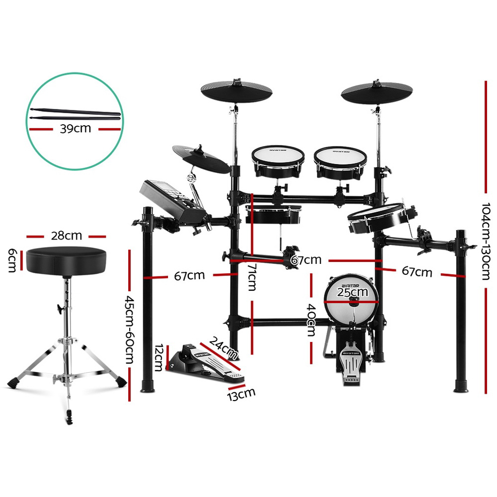 8 Piece Electric Electronic Drum Kit Mesh Drums Set Pad and Stool For Kids Adults 2