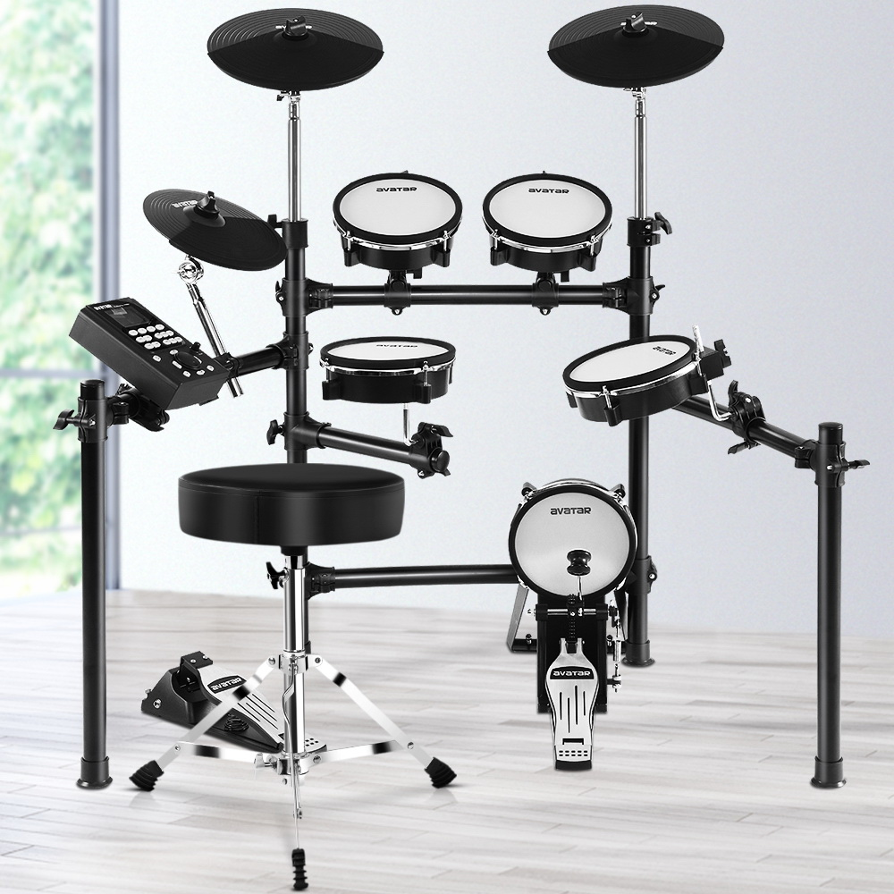8 Piece Electric Electronic Drum Kit Mesh Drums Set Pad and Stool For Kids Adults 7