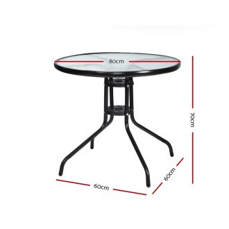 Gardeon Outdoor Dining Table Bar Setting Steel Glass 70CM 2