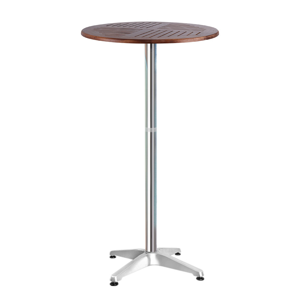 Outdoor Bar Table Furniture Wooden Cafe Table Aluminium Adjustable Round Gardeon 1
