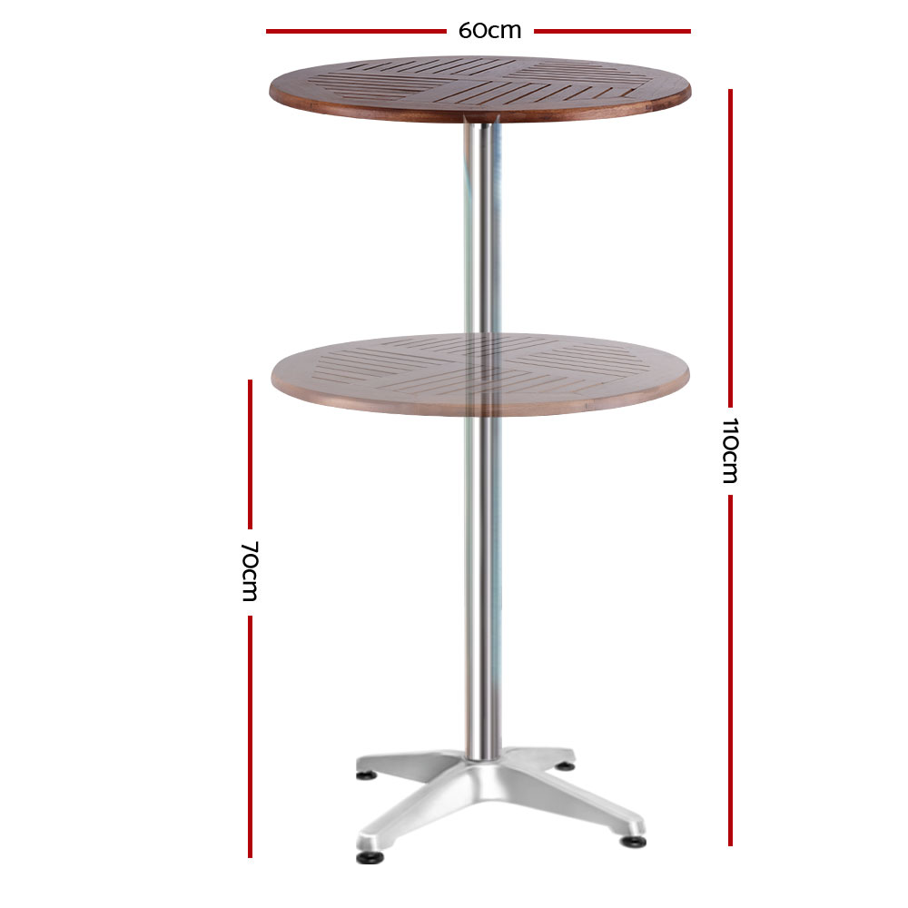 Outdoor Bar Table Furniture Wooden Cafe Table Aluminium Adjustable Round Gardeon 2