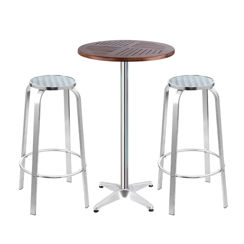 Gardeon Outdoor Bistro Set Bar Table Stools Adjustable Aluminium Cafe 3PC Wood 1
