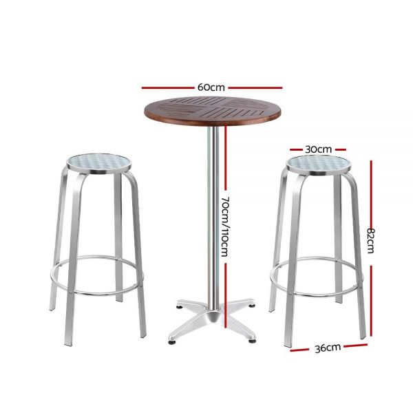 Gardeon Outdoor Bistro Set Bar Table Stools Adjustable Aluminium Cafe 3PC Wood 2