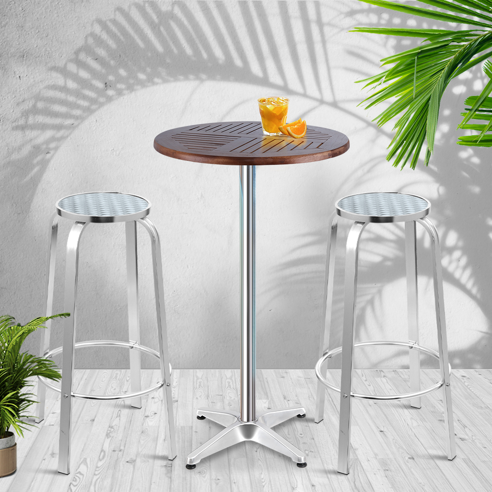 Gardeon Outdoor Bistro Set Bar Table Stools Adjustable Aluminium Cafe 3PC Wood 7