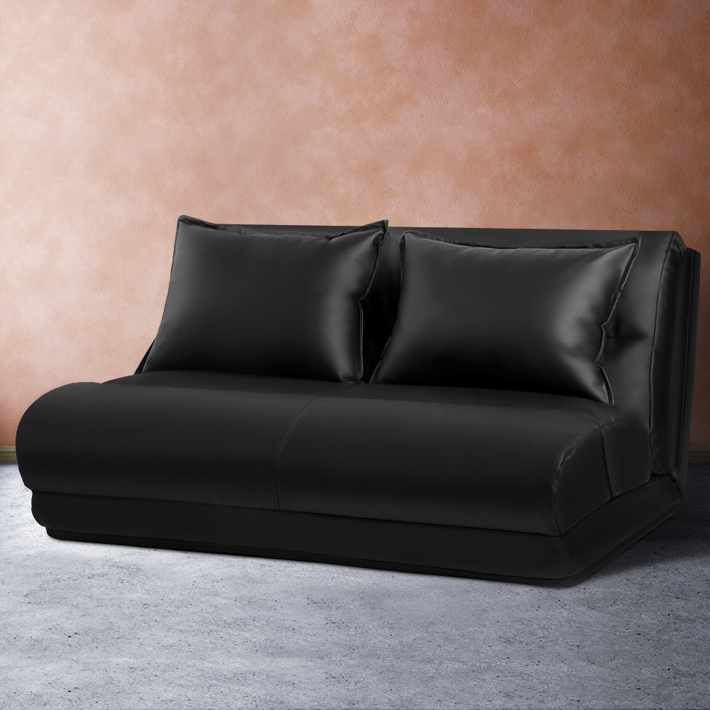 Artiss Lounge Sofa DOUBLE Floor Recliner Chaise Chair Folding PU leather Black 7