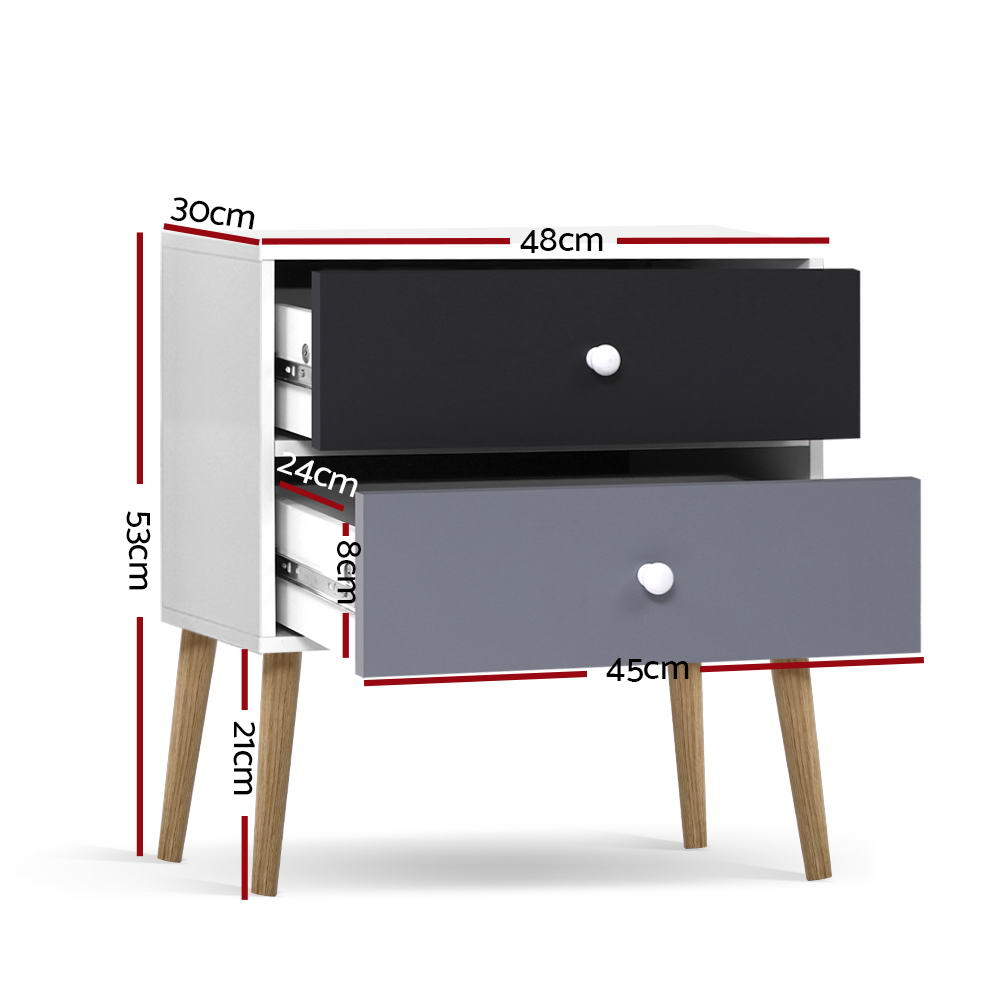 Artiss Bedside Tables Drawers Side Table Nightstand Lamp Side Storage Cabinet 2