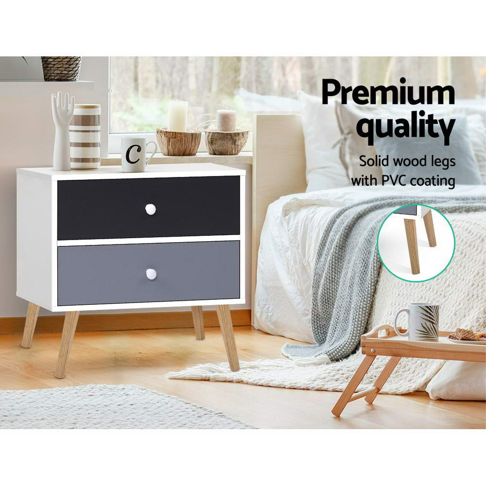 Artiss Bedside Tables Drawers Side Table Nightstand Lamp Side Storage Cabinet 4