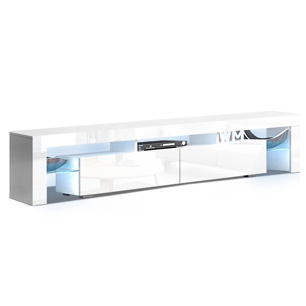 Artiss TV Cabinet Entertainment Unit Stand RGB LED Gloss Furniture 2 Drawers 200cm White 1