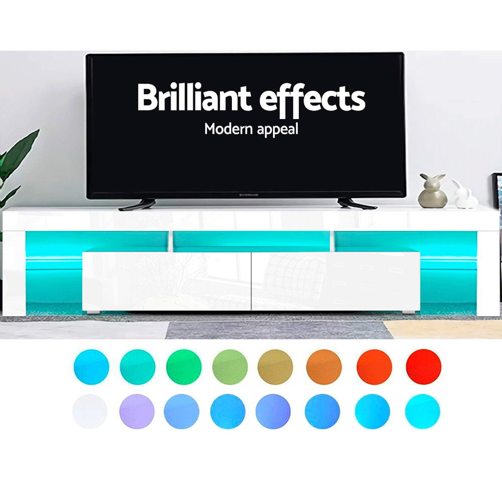 Artiss TV Cabinet Entertainment Unit Stand RGB LED Gloss Furniture 2 Drawers 200cm White 3