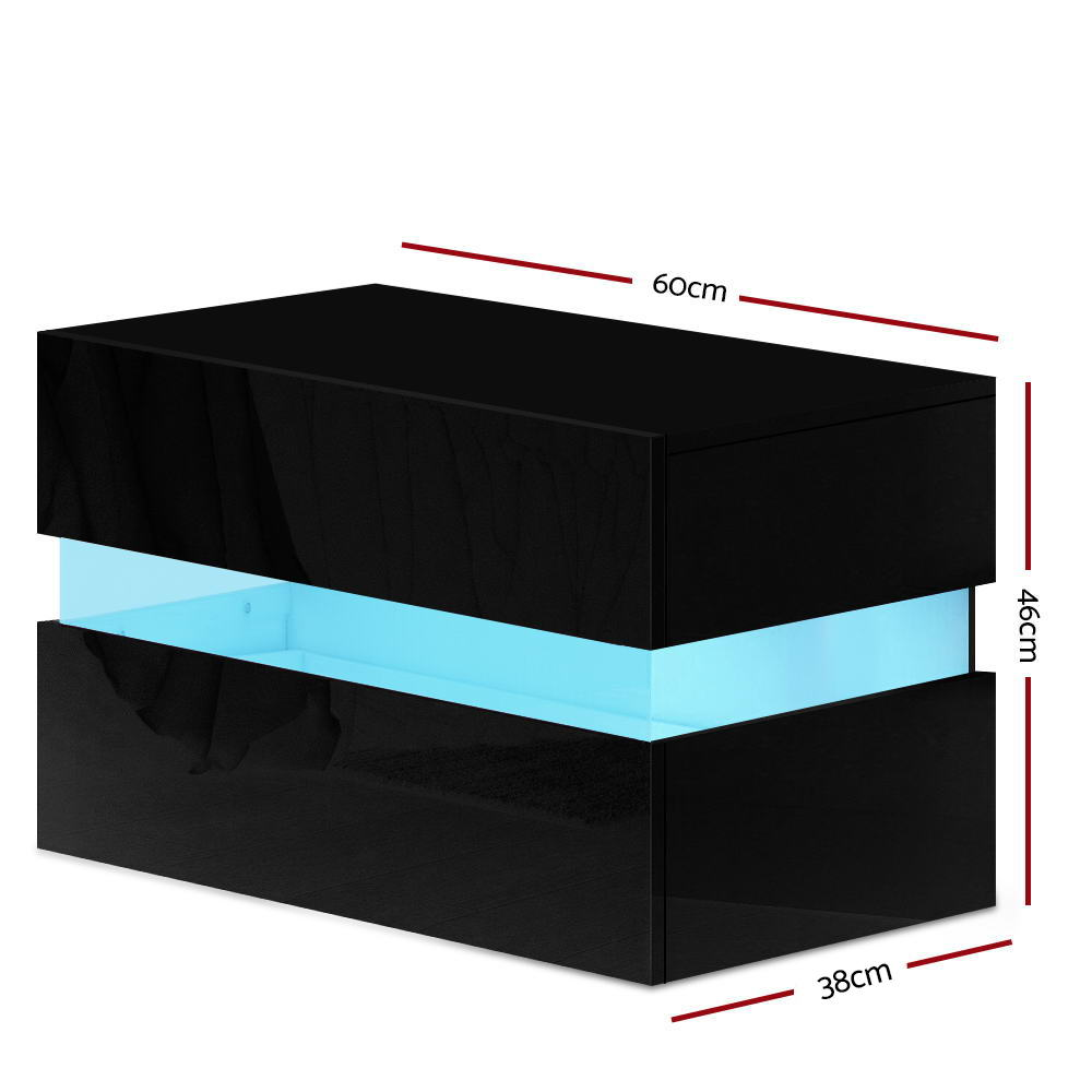 Artiss Bedside Table 2 Drawers RGB LED Side Nightstand High Gloss Cabinet Black 2