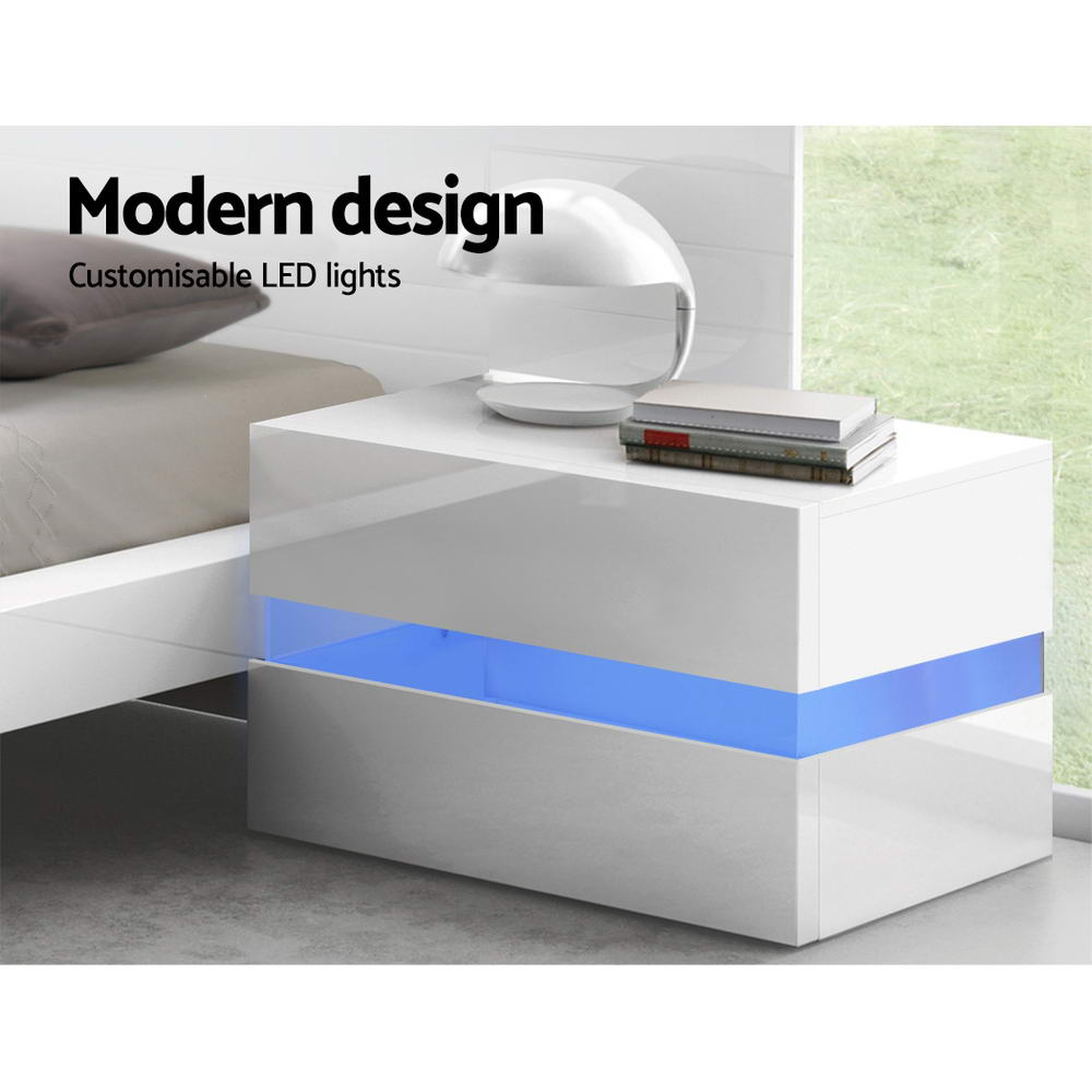 Artiss Bedside Table 2 Drawers RGB LED Side Nightstand High Gloss Cabinet White 3