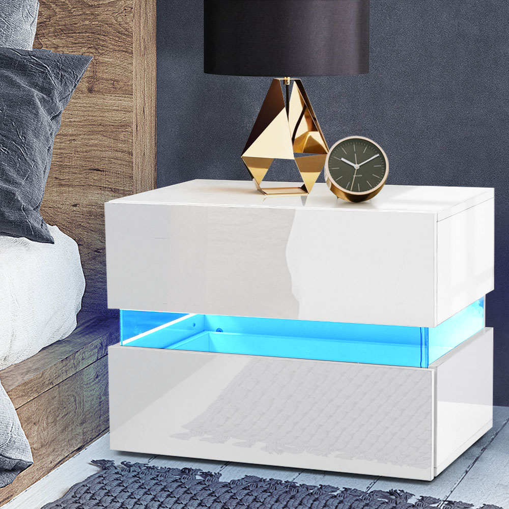 Artiss Bedside Table 2 Drawers RGB LED Side Nightstand High Gloss Cabinet White 7