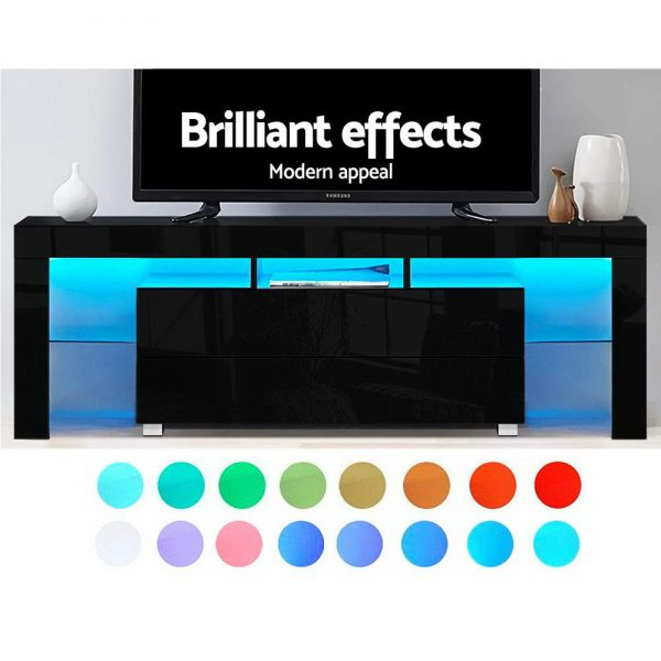 Artiss TV Cabinet Entertainment Unit Stand RGB LED Gloss Furniture 160cm Black 3