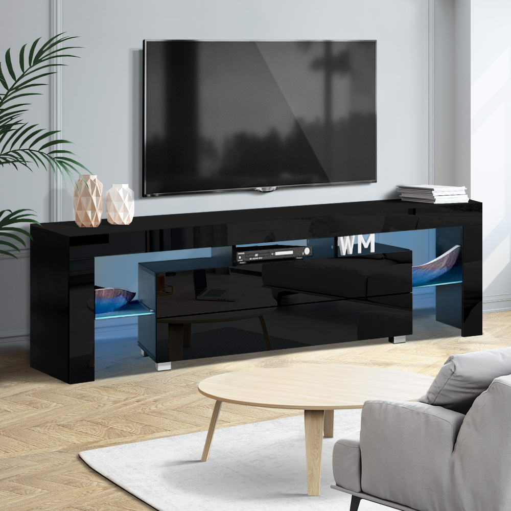 Artiss TV Cabinet Entertainment Unit Stand RGB LED Gloss Furniture 160cm Black 7