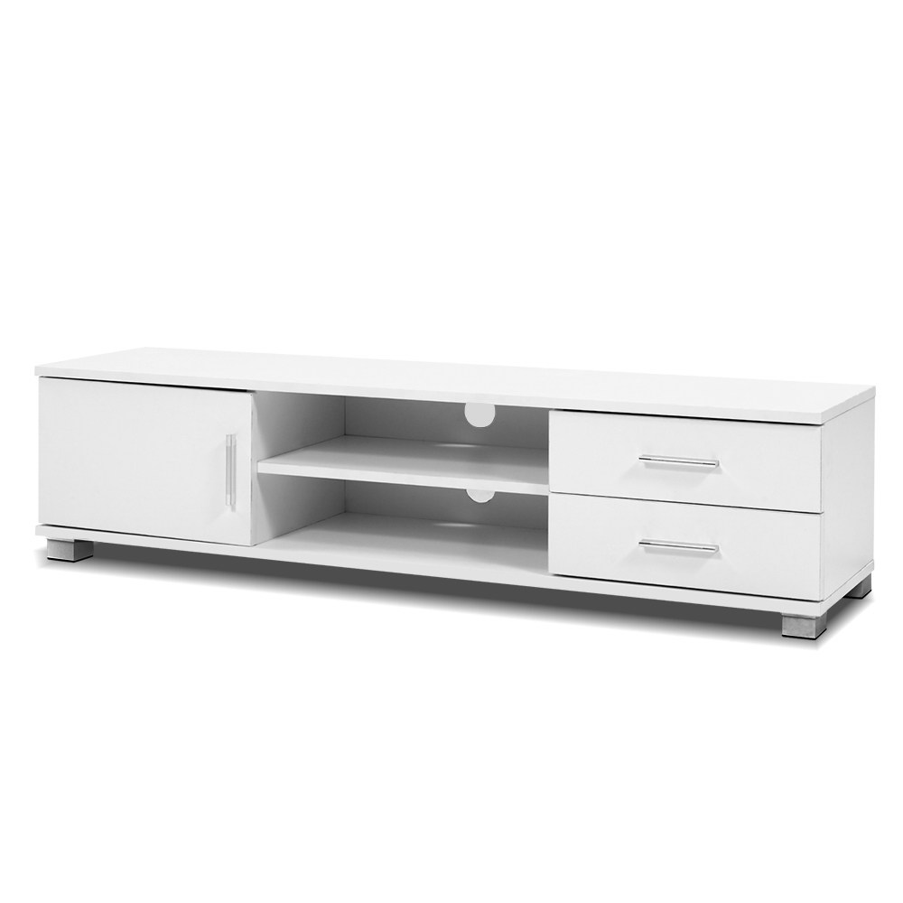 Artiss 120cm TV Stand Entertainment Unit Storage Cabinet Drawers Shelf White 1