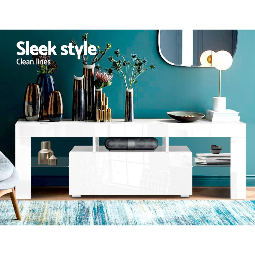 Artiss 130cm RGB LED TV Stand Cabinet Entertainment Unit Gloss Furniture Drawer Tempered Glass Shelf White 4