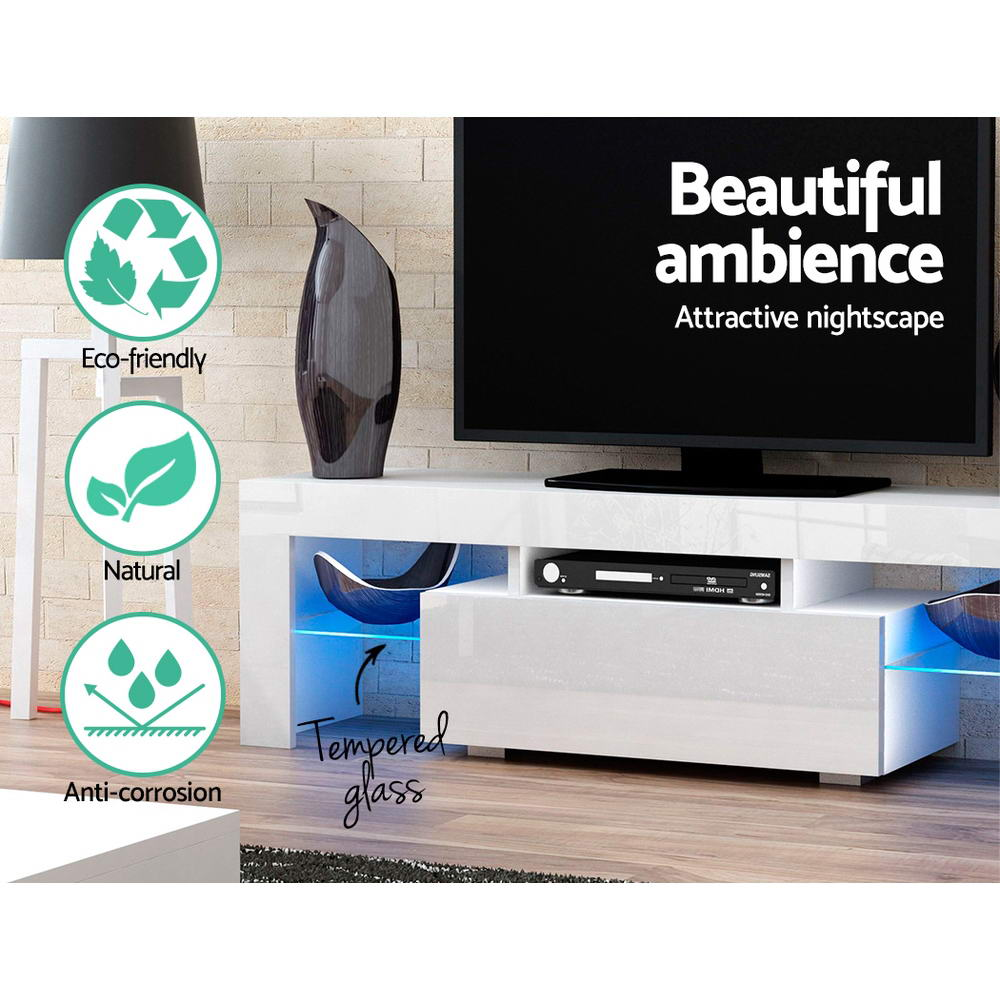 Artiss 130cm RGB LED TV Stand Cabinet Entertainment Unit Gloss Furniture Drawer Tempered Glass Shelf White 5