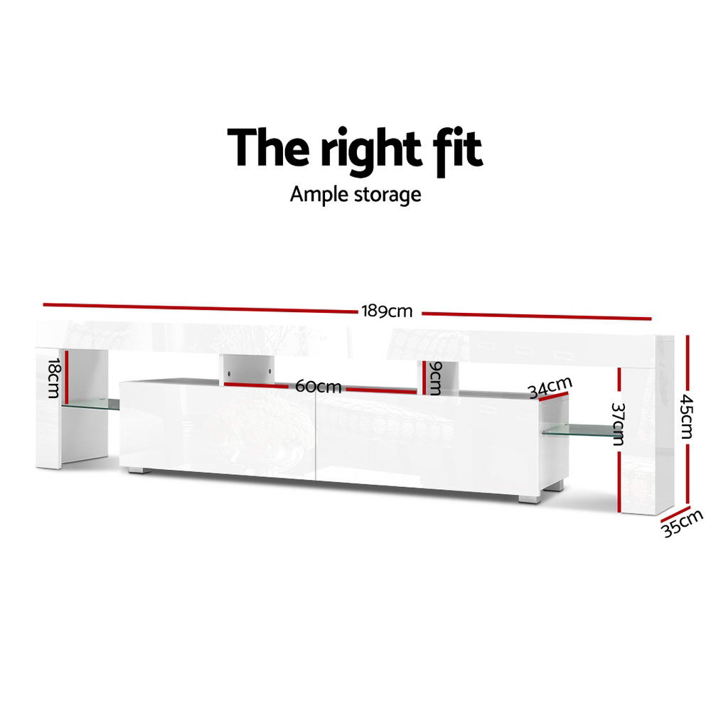 Artiss 189cm RGB LED TV Stand Cabinet Entertainment Unit Gloss Furniture Drawers Tempered Glass Shelf White 2
