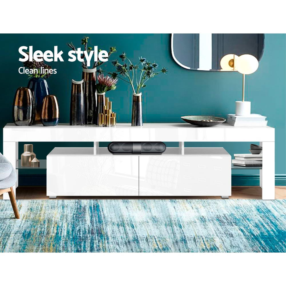 Artiss 189cm RGB LED TV Stand Cabinet Entertainment Unit Gloss Furniture Drawers Tempered Glass Shelf White 3