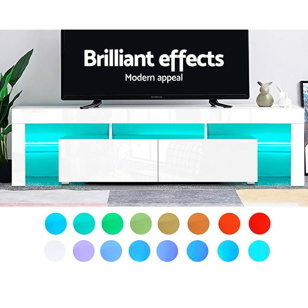 Artiss 189cm RGB LED TV Stand Cabinet Entertainment Unit Gloss Furniture Drawers Tempered Glass Shelf White 4