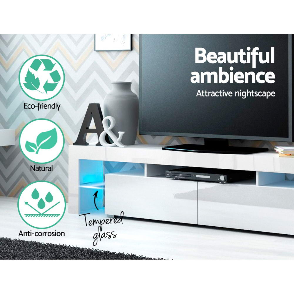 Artiss 189cm RGB LED TV Stand Cabinet Entertainment Unit Gloss Furniture Drawers Tempered Glass Shelf White 5