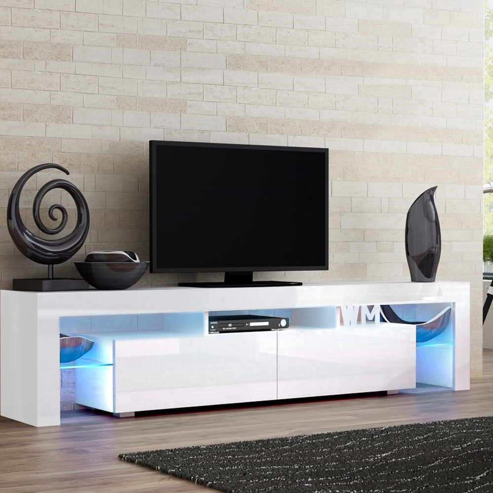 Artiss 189cm RGB LED TV Stand Cabinet Entertainment Unit Gloss Furniture Drawers Tempered Glass Shelf White 7