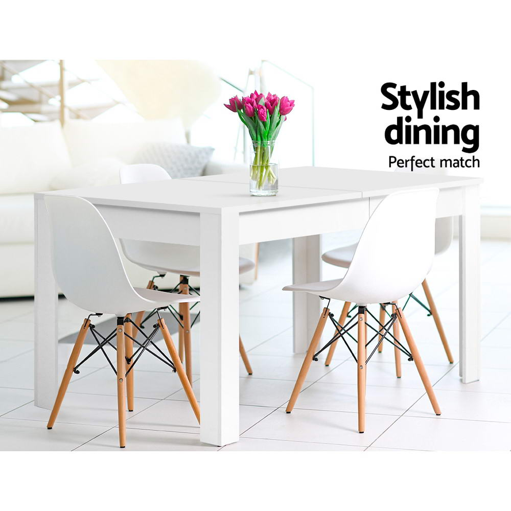 Artiss Dining Table 4 Seater Wooden Kitchen Tables White 120cm Cafe Restaurant 3