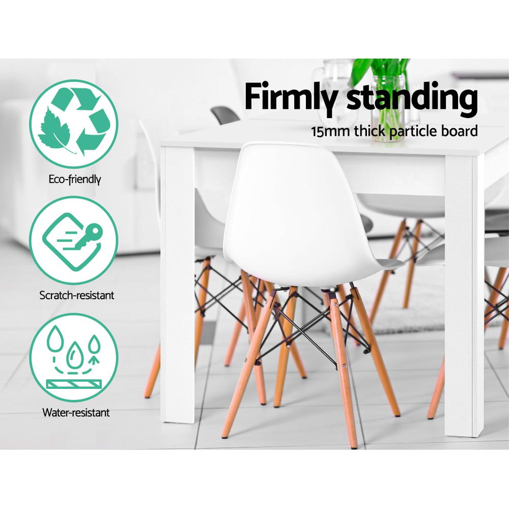Artiss Dining Table 4 Seater Wooden Kitchen Tables White 120cm Cafe Restaurant 5