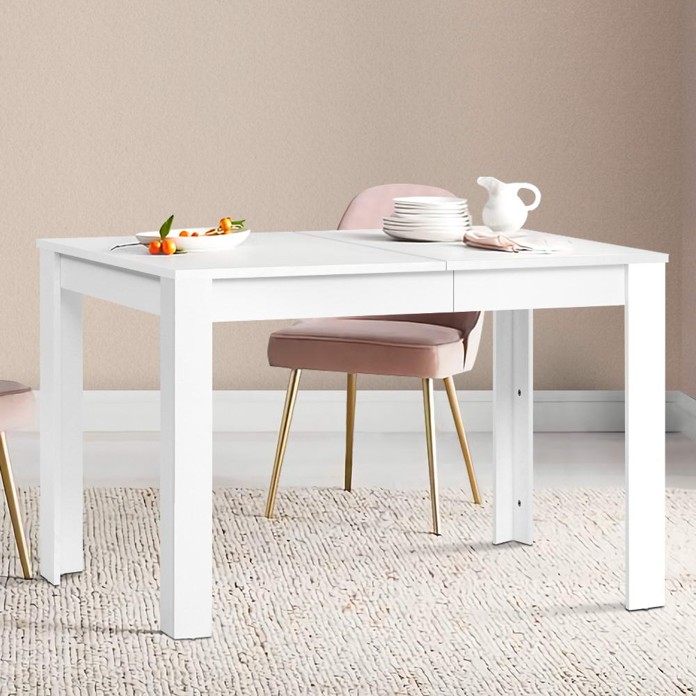 Artiss Dining Table 4 Seater Wooden Kitchen Tables White 120cm Cafe Restaurant 7
