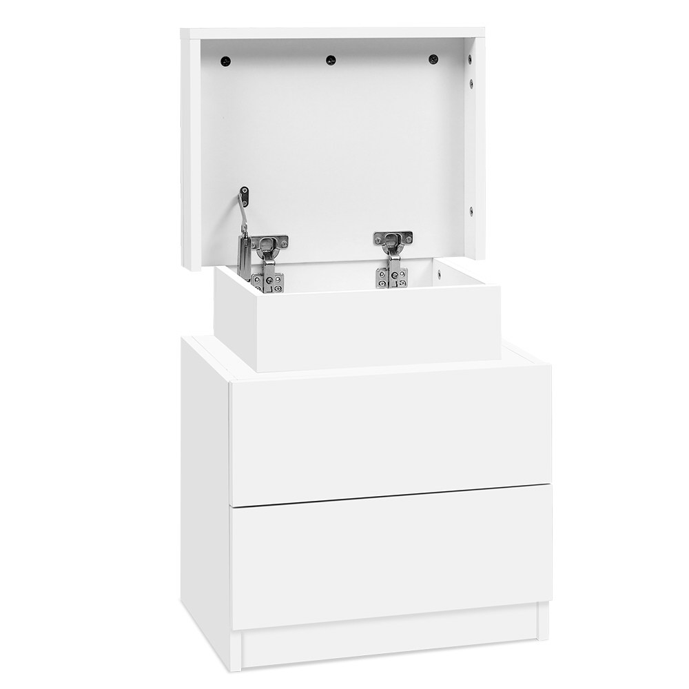 Artiss Bedside Tables 2 Drawers Side Table Storage Nightstand White Bedroom Wood 1