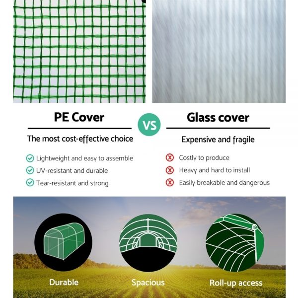 Greenfingers 4X3X2M Walk In Replacement Greenhouse PE Cover Shed – Cover Only 5